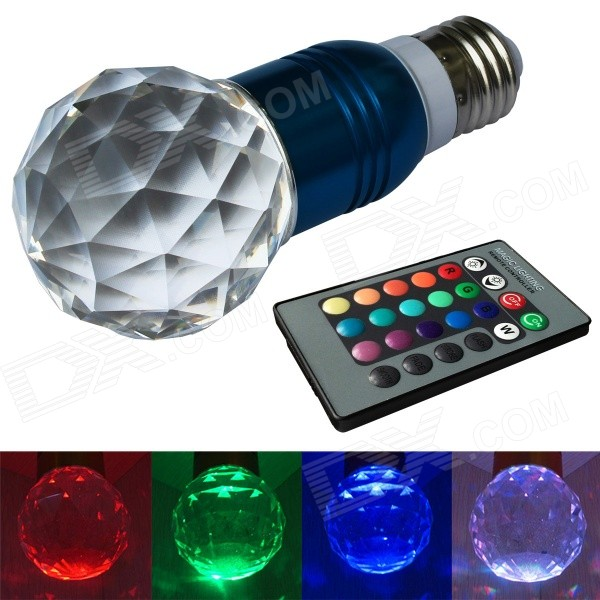 JIAWEN® 3W E27 LED RGB Light Remote Control Crystal Lamp - Blue + Transparent (AC100~220V)