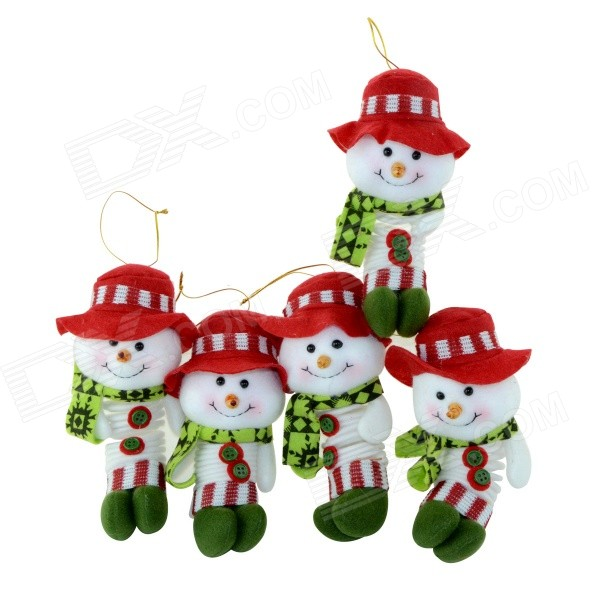 SMKJ 36075B Lovely Christmas Decoration Snowman Doll - Red + Green + Multicolored (5 PCS)