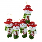 SMKJ Lovely Christmas Decoration Snowman Doll - Red + Green + Multicolored (5 PCS)