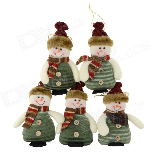 SMKJ 36170B Lovely Christmas Decoration Snowman Doll - Green + White + Multi-colored (5 pcs)