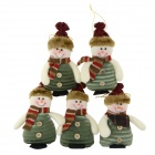 SMKJ Lovely Christmas Decoration Snowman Doll - Green + White + Multi-colored (5 pcs)