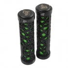 Bicycle MTB Bike Lock-on Rubber Handlebar Hand-Stitched Grips - Green + Black (Pair)
