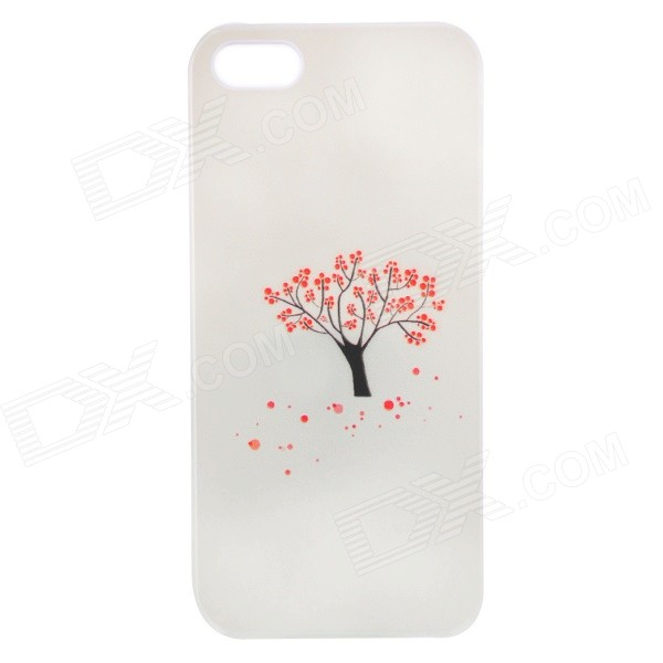 Fashionable Relievo Red Flower Tree Pattern Protective Back Case for IPHONE 5 / 5S - White + Red