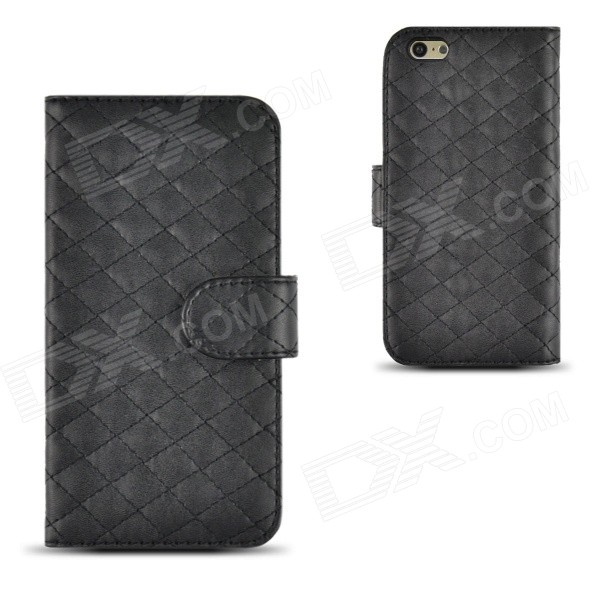 Angibabe Plaid Texture PU Leather Case Cover w/ Card Slot for IPHONE 6 PLUS 5.5 - Black silk texture plaid tpu phone shell for iphone 7 with ring kickstand 3d twisty grids black