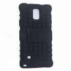 Tyre Pattern Protective TPU + PC Back Case w/ Stand for Samsung Note 4 / N910C - Black