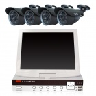 "SANNCE 4CH P2P 960H Laptop Security DVR Combo Kit w/ 10.5"" LCD Monitor + 4 x 800TVL Cameras (NTSC)"