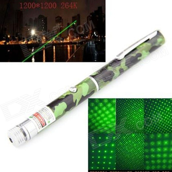 UltraFire 5mw 532nm Dual Spot Modes Green Light Laser Pointer Pen - Camouflage (2 x AAA)