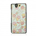 Protective Patterned PC Back Case Cover for Sony Xperia Z / L36H - White + Blue + Multicolor
