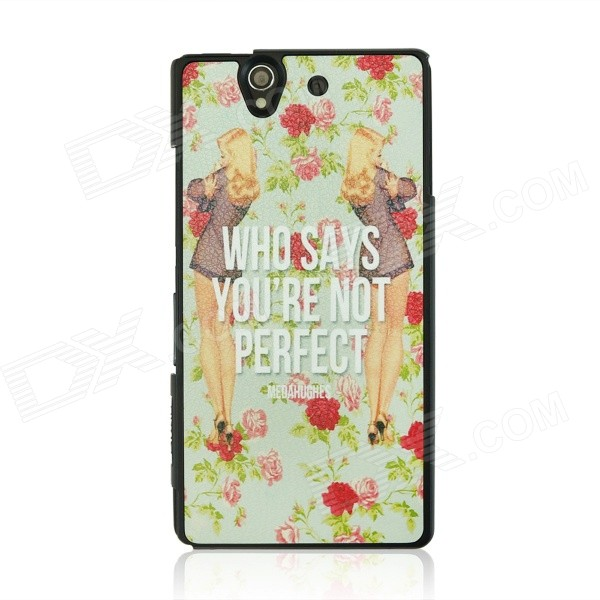 British Style Protective PC Back Case for Sony Xperia Z / L36H - White + Light Green + Multicolor