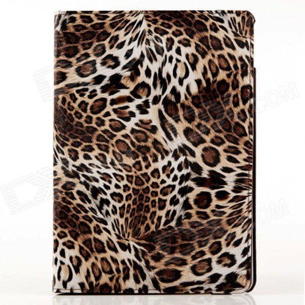 Leopard Pattern 360 Degree Rotating Stand Protective PU Leather Case Cover Stand for IPAD AIR 2 one piece 1x brand new high quality silicon protective skin case cover for xbox 360 remote controller blue green mix color