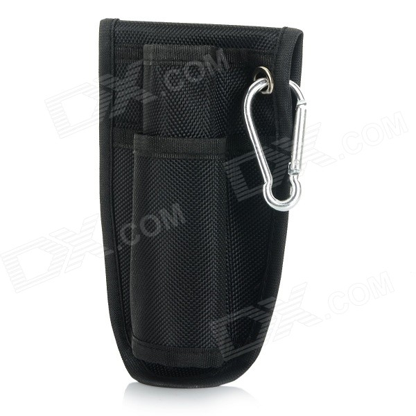 Multi-functional Portable Nylon Waist Bag w/ Carabiner for Monopod / Unipod - Black