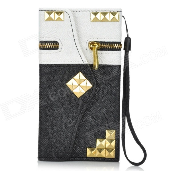 Rivets Zippered PU Leather Full Body Case w/ Money / Card Slot for IPHONE 6 - White + Black