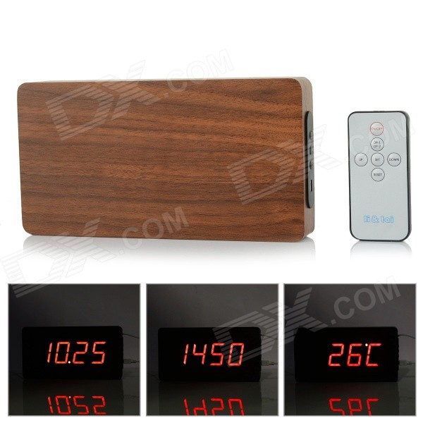 Li&tai 6016A Wood Style Digital LED Wall Desktop Clock w/ Remote Control - Black + Mahogany Color