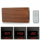 Li&tai SLT-6016 Wood Style Digital LED Wall Desktop Clock w/ Remote Control - Black + Mahogany Color