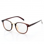 Fashion PC Frame Round Resin Lens Myopia Glasses - Tan