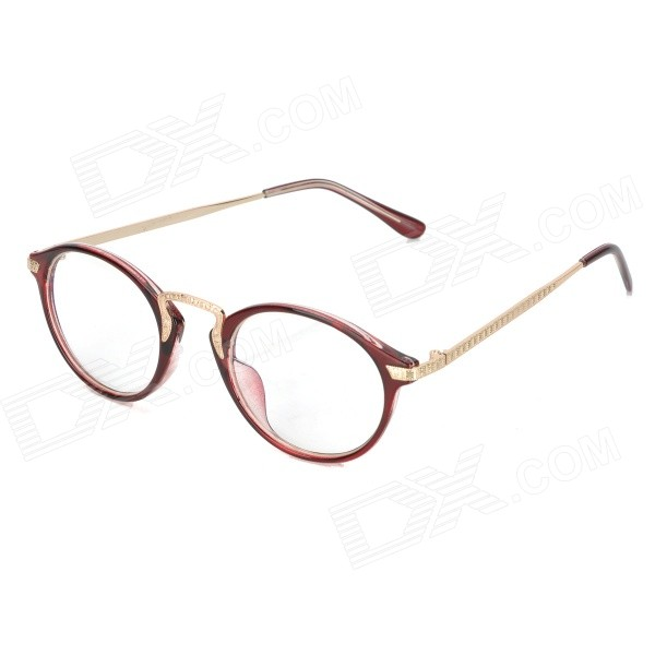 OULAIOU Fashion Plain Mirror / Myopia Glasses Frame - Wine Red + Gold