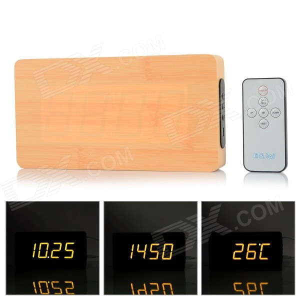 Li&tai 6016A Ultra-thin Wood Style Digital LED Wall Desktop Clock w/ Remote Control - Black + Beige