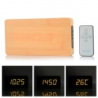 Li&tai Ultra-thin Wood Style Digital LED Wall Desktop Clock w/ Remote Control - Black + Beige