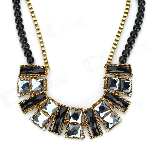 Shiying W3301 Fashion Retro Style Artificial Gems Short Necklace - Black + Gold shiying women s retro leaf style zinc alloy pendant necklace silver black multi color