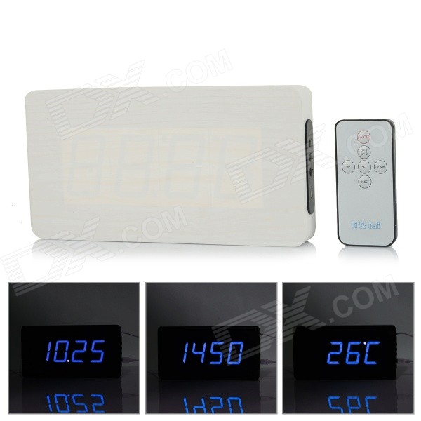 Li&tai 6016A Ultra-thin Wood Style Digital LED Wall Desktop Clock w/ Remote Control - Black + White