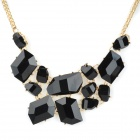Shiying X7404 Fashion Geometric Square Style Acryl Halskette - Schwarz + Gold