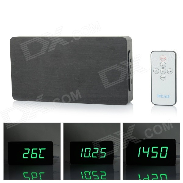 Li&tai 6016A Ultra-thin Wood Style Digital LED Wall / Desktop Clock w/ Remote Control - Black