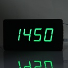 Li & tai SLT-6016 Ultra-thin hout stijl digitale LED Wall / Desktop Clock w / afstandsbediening - zwart