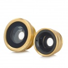 Clip-On Fish Eye + 0.67X Macro Lenses Set for Cell Phone - Black + Gold