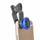 Clip-On Fish Eye + 0.67X Macro Lenses Set for Cell Phone - Black + Blue