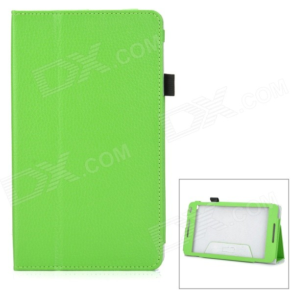 Protective PU + Microfiber Flip-Open Case w/ Hand Strap for Huawei MediaPad M1 - Green
