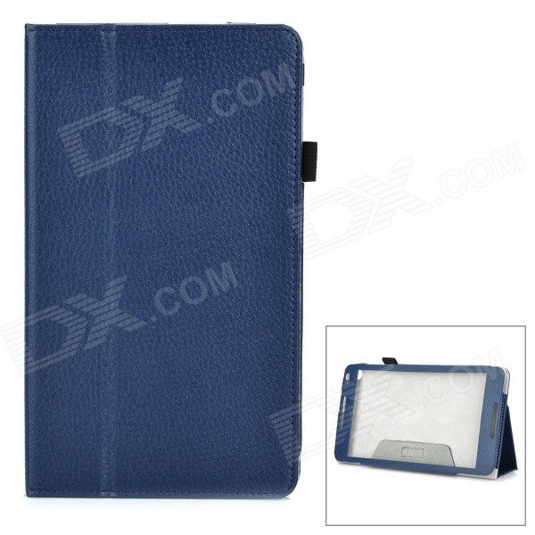 Protective PU + Microfiber Flip-Open Case w/ Hand Strap for Huawei MediaPad M1 - Deep Blue