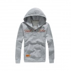Autumn and Winter Patch Retro Labeled Buttons Hooded Sweater- Light Gray (XL)