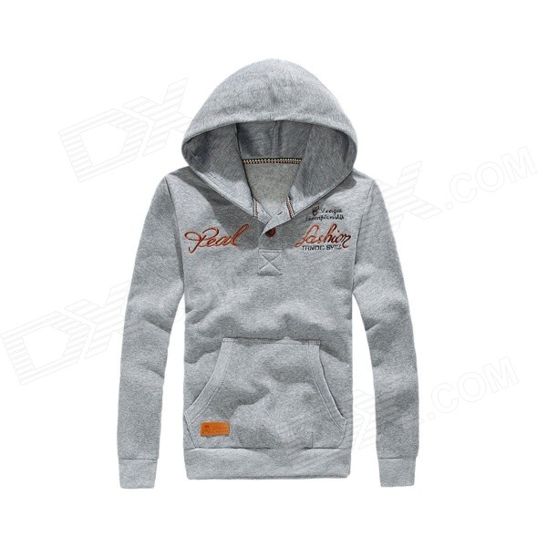 Autumn and Winter Patch Retro Labeled Buttons Hooded Sweater - Light Gray (XXL)