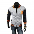 Autumn and Winter Baseball Embroidered Cuffs Spell Color Sweater - Gray + Black (XXL)