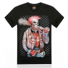Men's 3D Printing Skull & Stick Short Sleeves Cotton T-shirt - Black + Multicolor (Size XXL)