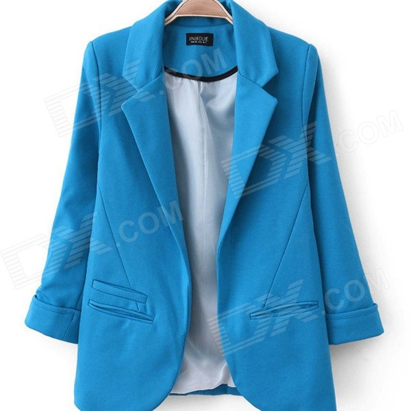 Women's Fashion Seventh Volume Sleeve Jacket Blazer Candy Color Suit Coat - Blue (L) women s fashion seventh volume sleeve jacket blazer candy color suit coat blue l