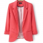 Women's Fashion Seventh Volume Sleeve Jacket Blazer Candy Color Suit Coat - Red (L)