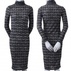Women's Bodycon Long Sleeves Lace Stretch Evening Tea Party Midi Dress - Black + White (M)