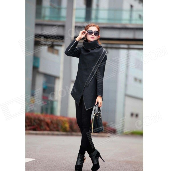 Women's Fashion Temperament Woolen Long Wool Jacket Coat - Black (L)