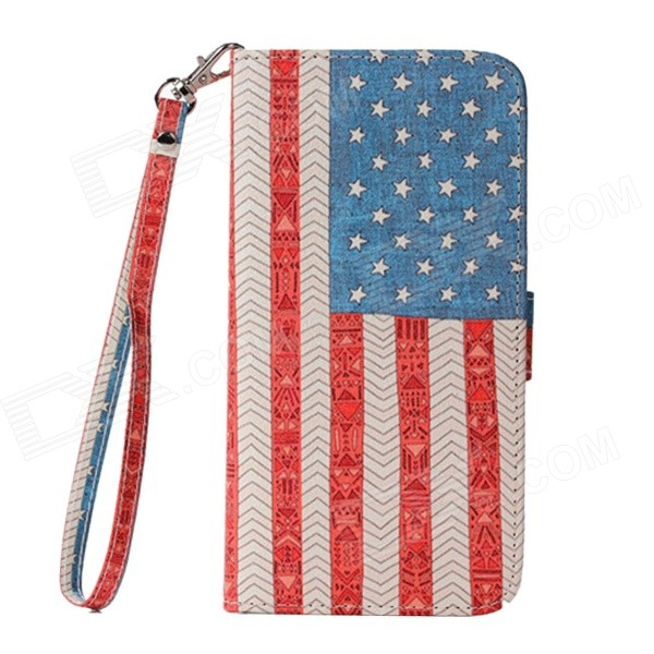 American Flag Cloth Grain Flip PU Leather Wallet Case w/ Stand, Photo Frame for IPHONE 6 PLUS 5.5'' 100