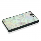 Cartoon Pattern Plastic Back Cover Case for Sony Xperia Z / L36H - Green + Pink