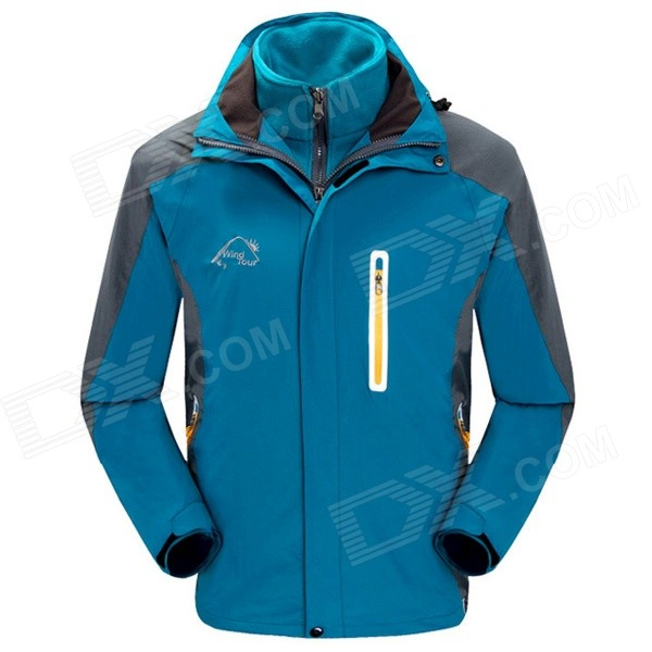 Wind Tour Men's 3-in-1 Outdoor Sport Autumn and Winter Ski-wear Jacket - Deep Blue (L)