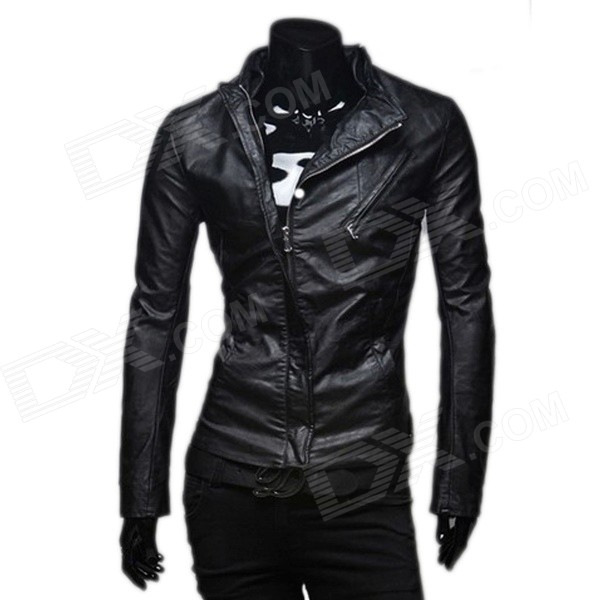 Man's Inclined Zipper Decoration Fashion Leisure Leather Coat - Black (XL)