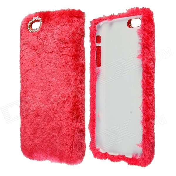 Stylish Plush Fur Style PC Protective Case for IPHONE 6 PLUS 5.5 - Red elegance tpu pc hybrid back case with kickstand for iphone 7 plus 5 5 inch red