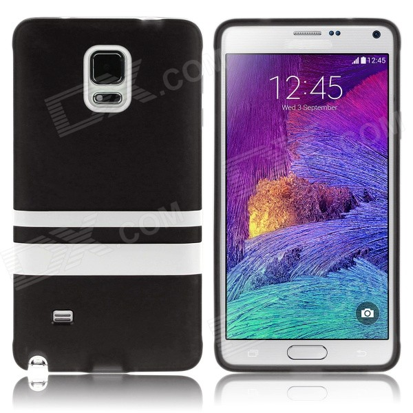 Hat-Prince Protective TPU Soft Case for Samsung Galaxy Note 4 N9100 - Black + White 2 in 1 detachable protective tpu pc back case cover for samsung galaxy note 4 black
