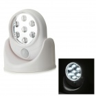 3W 6500K 7-LED White Light Motion Sensor Camping nattlampe - Hvit (4 x AA)