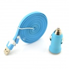 Stylish USB Male to Micro USB Male Charging Data Flat Cable + USB Car Charger - Blue (100cm)