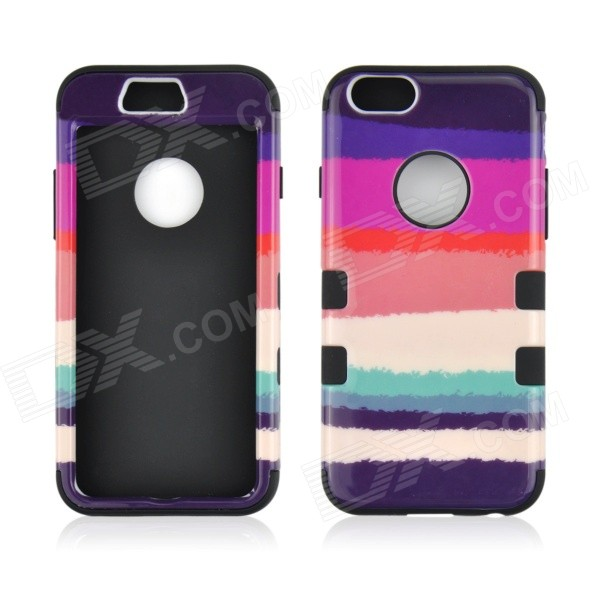 Angibabe 3-in-1 Coloful Stripe Pattern Silicon +PC Phone Case for IPHONE 6 - Black asus zenwatch 3 wi503q silicon