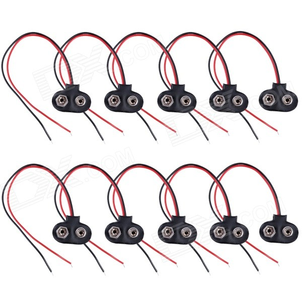 HW01 9V Battery Snap Connectors w/ Lead Cable - Black + Red (10PCS)