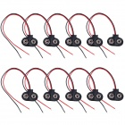 HW01 9V Battery Snap Connectors w/ Lead Cable- Black + Red (10 PCS)